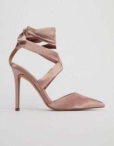 Атласные туфли на каблуке со шнуровкой ASOS PINOT - Бежевый