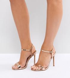 Босоножки на каблуке для широкой стопы ASOS DESIGN Hands Down - Золотой
