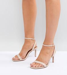 Босоножки на каблуке для широкой стопы ASOS DESIGN Half Time barely there - Бежевый