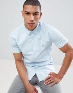 Голубая рубашка с короткими рукавами и логотипом BOSS - Синий