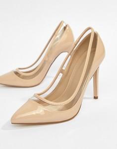 Туфли на каблуке с острым носком ASOS DESIGN Paphos - Бежевый
