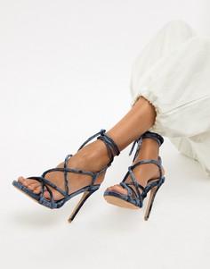 Бархатные сандалии гладиаторы Missguided - Синий