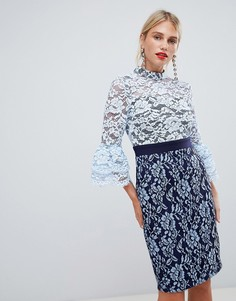Синее платье-футляр 2-в-1 с кружевом Paper Dolls - Синий