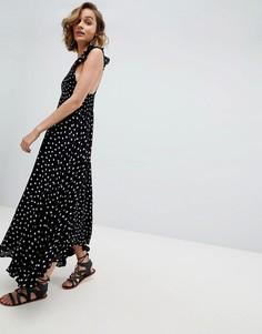 Платье миди из ткани шамбре с бабочками Free People - Черный