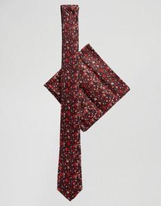 Красный узкий галстук и платок для пиджака с цветочным принтом ASOS DESIGN - Красный