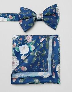 Синий галстук-бабочка и платок-паше с цветочным принтом ASOS DESIGN - Синий