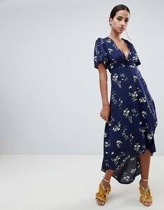 Платье миди с цветочным принтом и запахом Missguided - Синий