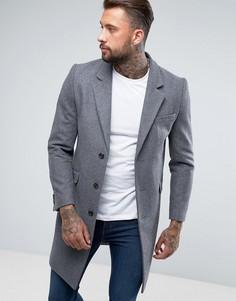 Полушерстяное светло-серое пальто ASOS DESIGN - Серый