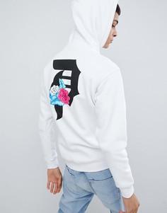 Худи белого цвета с большим логотипом на спине Primitive Skateboarding Flores - Белый
