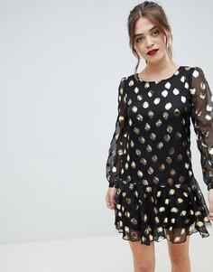 Платье в горошек металлик Glamorous - Черный