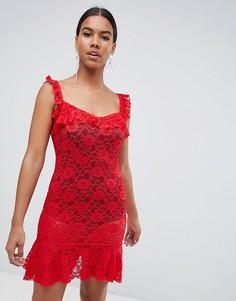 Кружевное платье мини с оборками Missguided - Красный