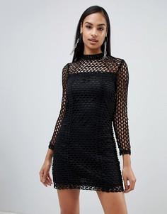 Платье-кроше с длинными рукавами Rare London - Черный