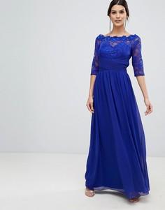 Платье макси с кружевом Little Mistress - Синий