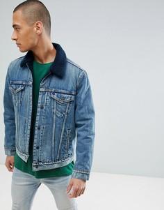 Куртка цвета индиго с искусственным мехом Levis Type 3 - Темно-синий