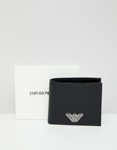 Черный складываемый кошелек с металлическим логотипом Emporio Armani - Черный