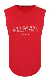 Хлопковый топ с логотипом бренда Balmain