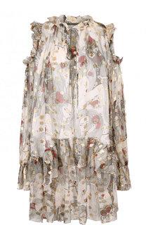 Шелковое мини-платье с оборками и принтом Alexander McQueen