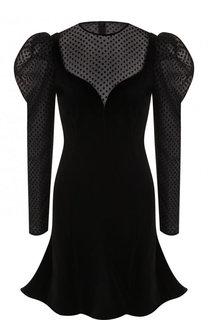 Бархатное мини-платье с объемными плечами Valentino