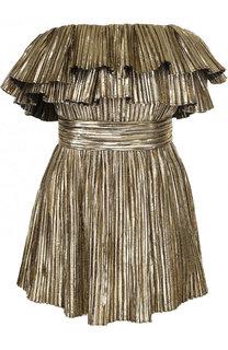 Приталенное мини-платье с оборками Saint Laurent