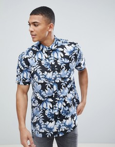 Темно-синяя рубашка с короткими рукавами и принтом Jack Wills Wallingford - Темно-синий