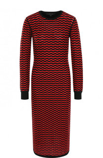 Шерстяное платье-миди с круглым вырезом и принтом Marc Jacobs