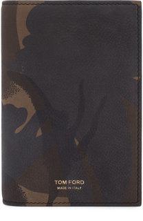 Кожаная обложка для паспорта с камуфляжным принтом Tom Ford