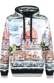 Худи из смеси хлопка и шелка с принтом Dolce & Gabbana