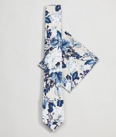 Комплект из галстука и платка для нагрудного кармана с цветочным принтом Moss London Wedding - Белый