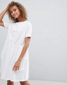 Свободное платье на пуговицах с карманами ASOS DESIGN - Белый