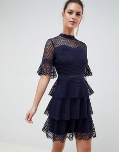Многослойное кружевное платье с расклешенными рукавами Liquorish - Темно-синий