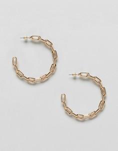 Золотистые серьги-кольца с цепочкой ASOS DESIGN - Золотой