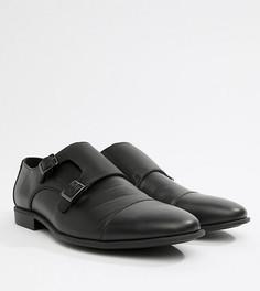 Черные монки для широкой стопы из искусственной кожи с тисненой вставкой ASOS DESIGN - Черный