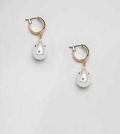 Серьги-кольца с искусственным жемчугом и камнями на подвесках DesignB London - Золотой
