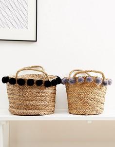 Набор из 2 корзин для хранения вещей с помпонами Candlelight - Коричневый