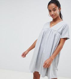 Хлопковое свободное платье ASOS DESIGN Petite Ultimate - Серый