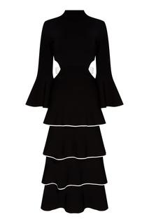 Черное платье с воланами Proenza Schouler
