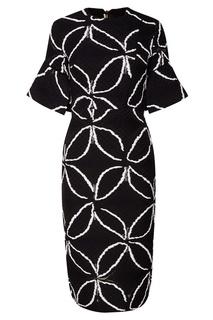 Приталенное платье с контрастным узором Roland Mouret