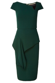 Зеленое платье с баской Roland Mouret