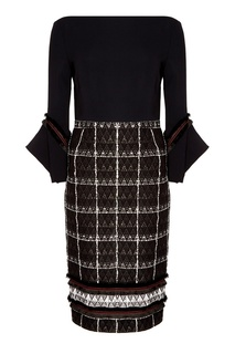 Черное платье с контрастным узором Roland Mouret