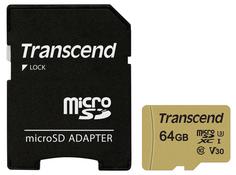 Карта памяти 64Gb - Transcend 500S MicroSDXC Class10 UHS-I U3 TS64GUSD500S