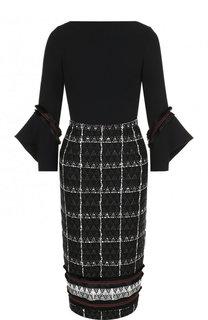 Приталенное платье-миди из смеси хлопка и шерсти Roland Mouret