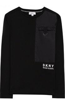 Хлопковый лонгслив с отделкой DKNY