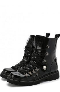 Высокие ботинки из лаковой кожи на шнуровке Moncler