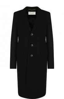 Шерстяное пальто прямого кроя Saint Laurent