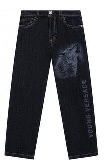 Джинсы прямого кроя с принтом Young Versace