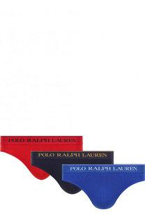 Комплект из трех хлопковых брифов с широкой резинкой Polo Ralph Lauren