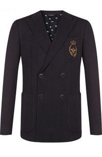 Двубортный пиджак с вышивкой канителью Dolce & Gabbana