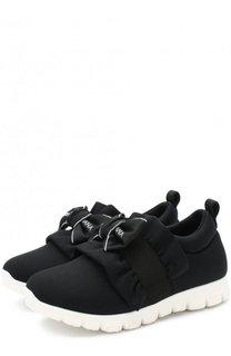 Текстильные кроссовки с эластичной вставкой и бантом Dolce & Gabbana