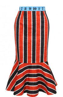 Хлопковая юбка-миди с оборкой и контрастным поясом Stella Jean