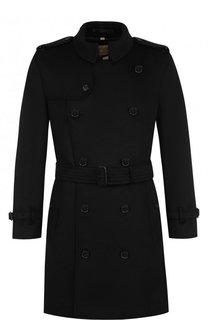 Двубортное пальто из смеси шерсти и кашемира с поясом Burberry